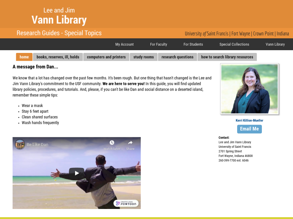 Vann Library COVID-19 LibGuide page